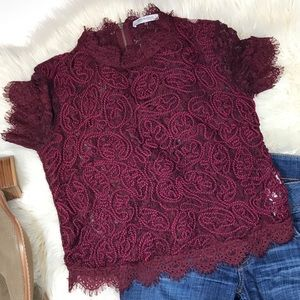 Zara maroon lace crop blouse